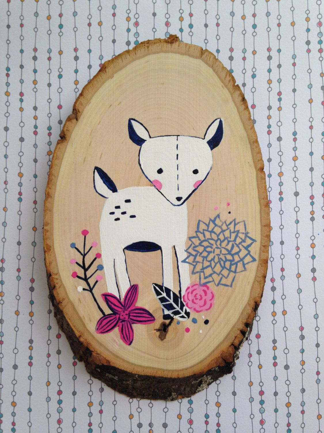 Navy and pink fawn wood slice woodland themed girl nursery wall