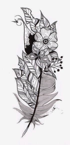 Feather With Flowers Tattoos Feather Tattoos Tattoo Stencils