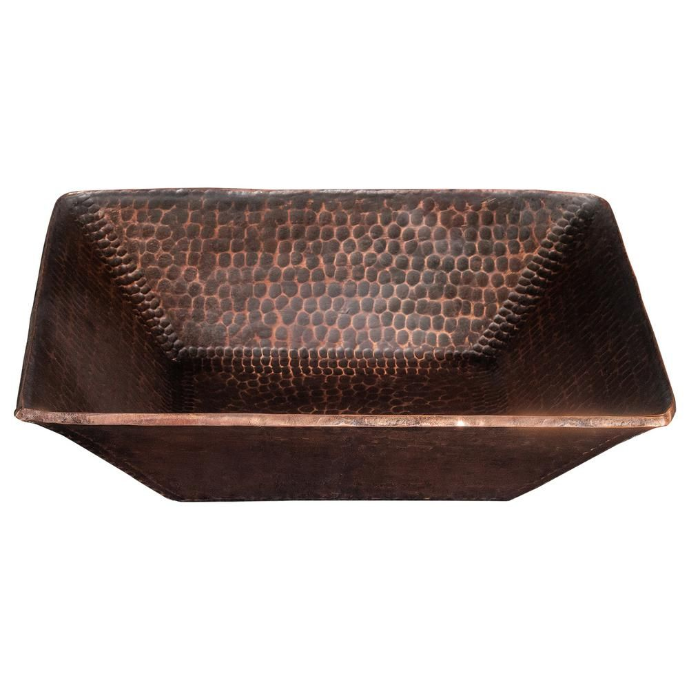 Photo of Premier Copper Products Square 14 in. Hand Forged Old World Copper Vessel Sink in Oil Rubbed Bronze-PVSQ14DB – The Home Depot