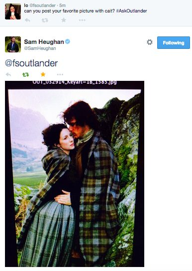 Sam's favorite picture with Caitriona via live twitter Q&A