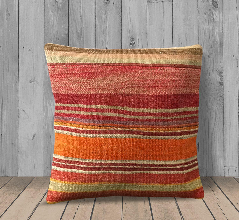 orange red green sofa pillow 16x16