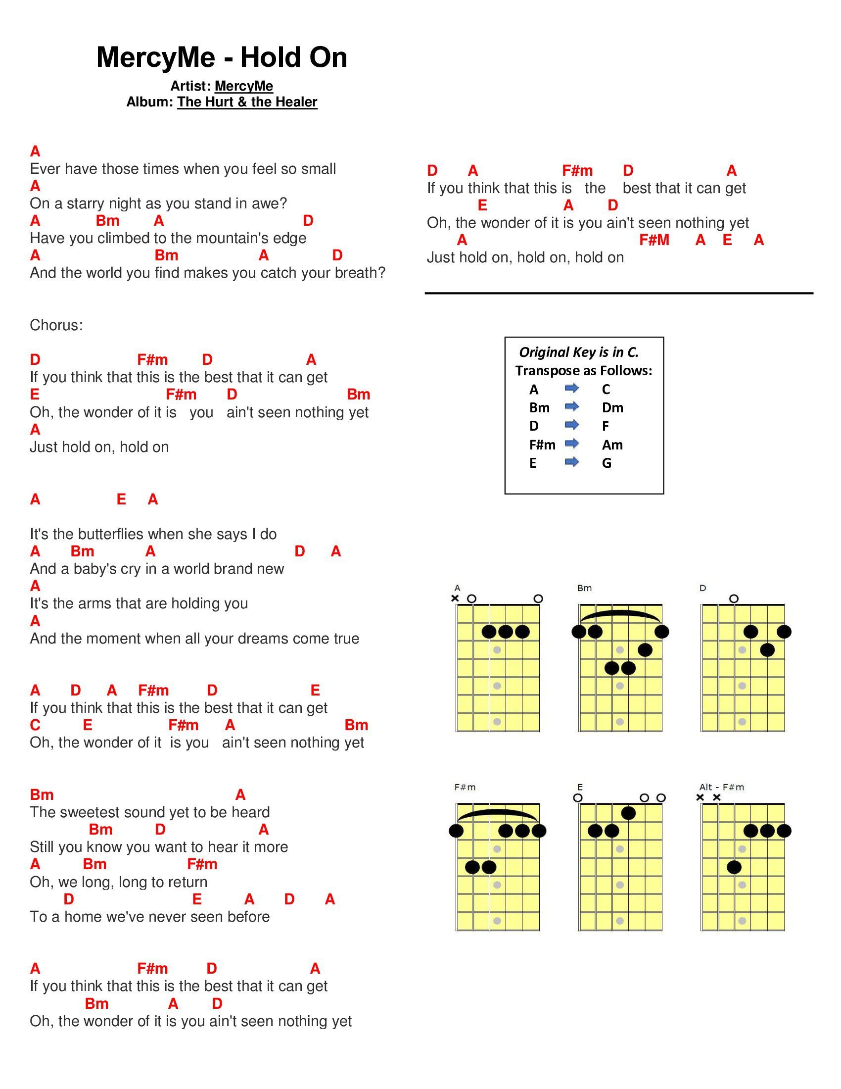 Hold On By Mercyme Guitar Chords Pinterest Guitars Ukulele