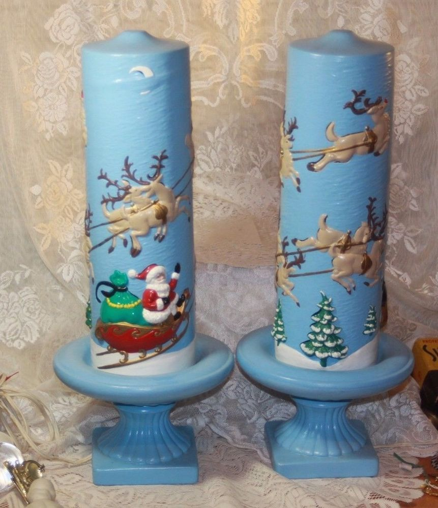Vintage 18 Inch Tall Lot of 2 Atlantic Mold Ceramic Christmas Pedestal Candles