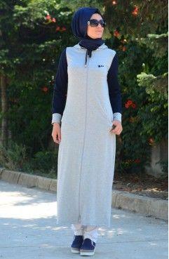 Sefamerve Tesettur Esofman Elbise Crn 6000y 01 Gri Lacivert Basortusu Modasi Elbise Moda Stilleri