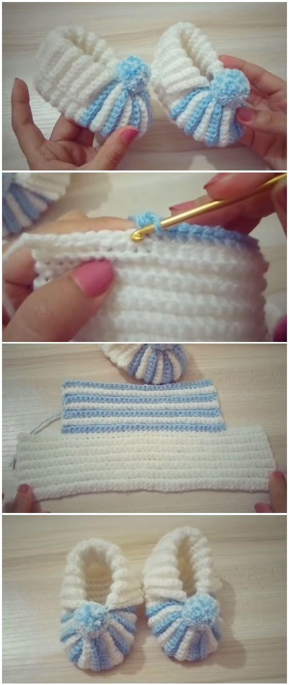 Photo of Häkeln Sie Babyschuhe mit Pom Pom, #Baby #Booties #Crochet #Pom