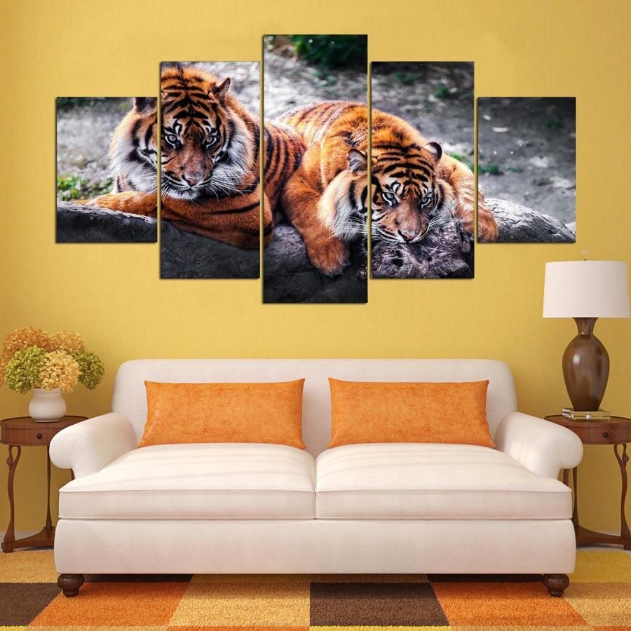 Tiger Animal 5 Panel Canvas Wall Art Print | Kitchen Reno ...