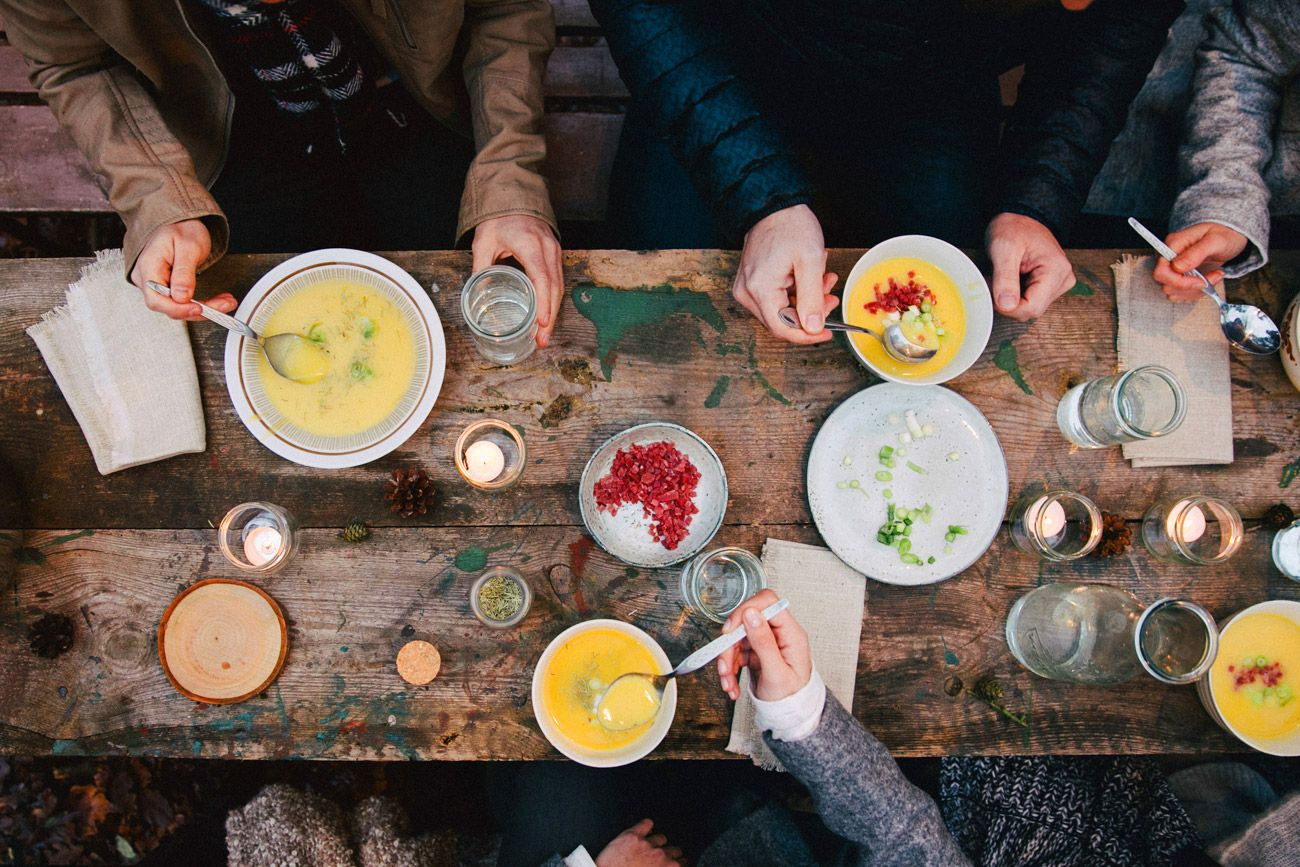 soup, friends, table, eating, healthy food