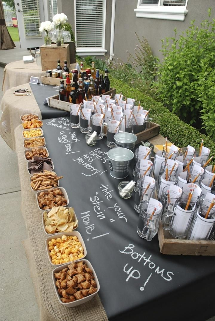 Beer and pretzels! This is a great idea for a party buffet