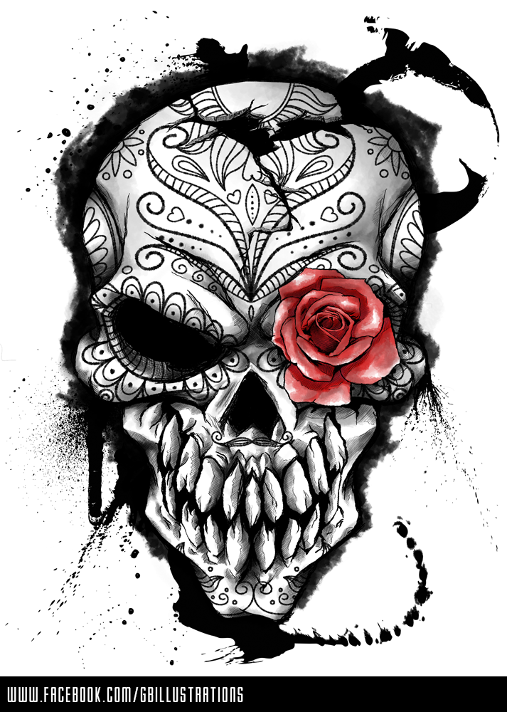 Day Of The Dead By Gbillustrations On Deviantart Skull Art Skull Day Of The Dead Artwork