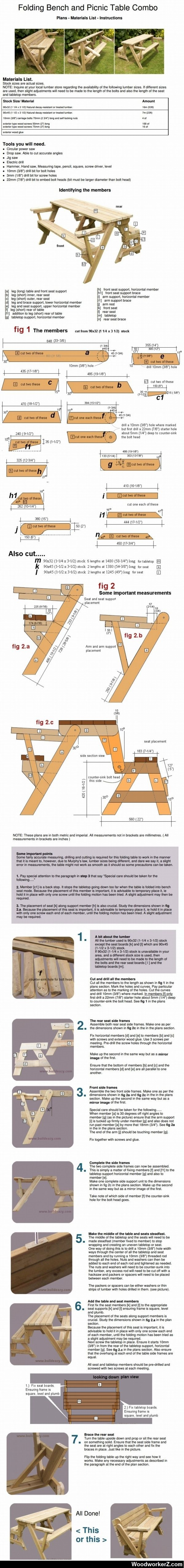 Folding Bancos Pinterest Table Bench And ComboBancas Picnic Yfy76gb