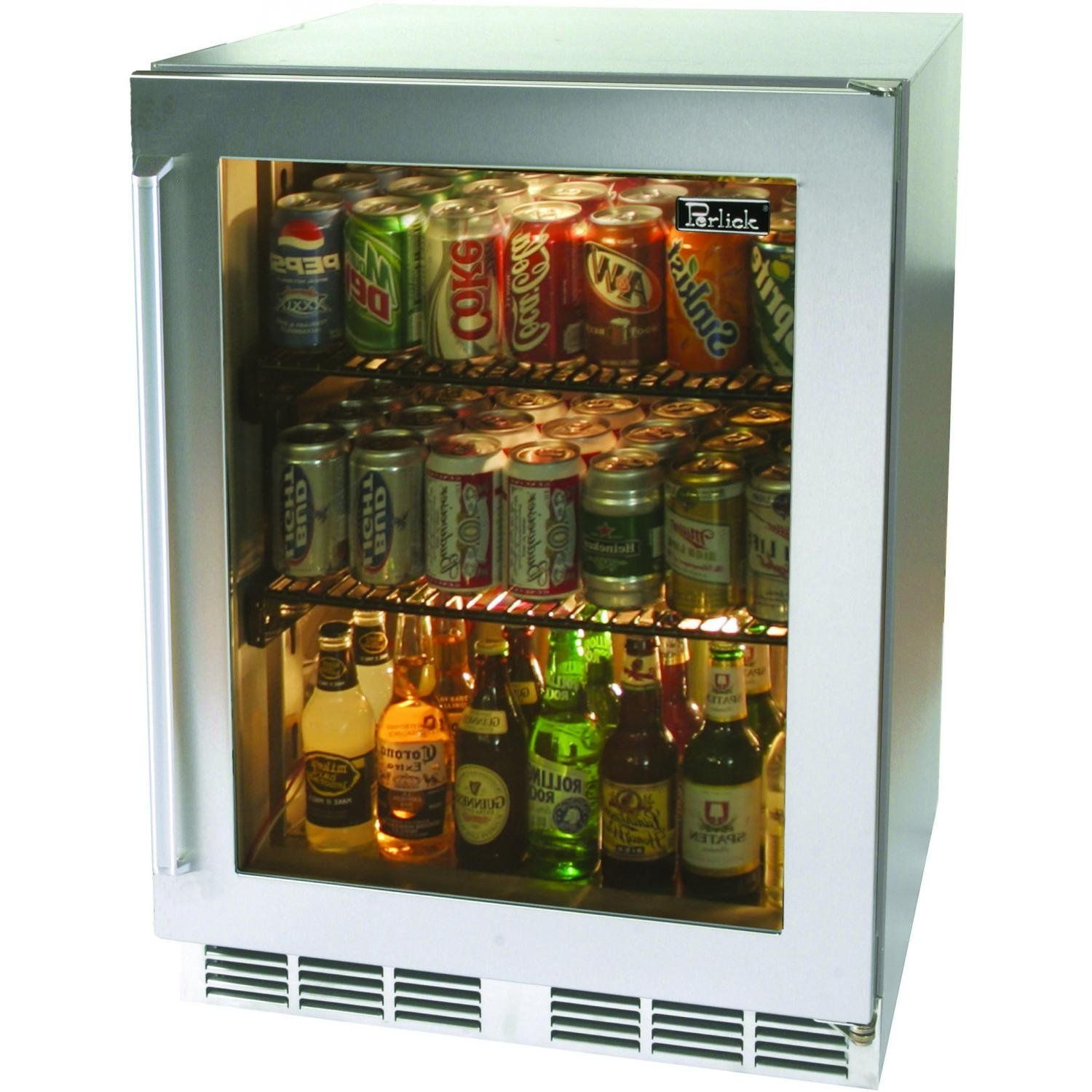nice small glass door refrigerator for home with cool 3 tiers and