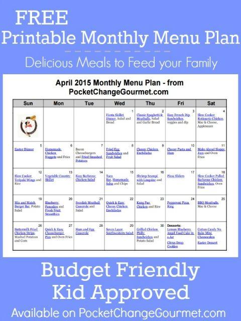 April Menu Plan 2015 Girly Stuff Pinterest Monthly menu, Menu - budget plans for families