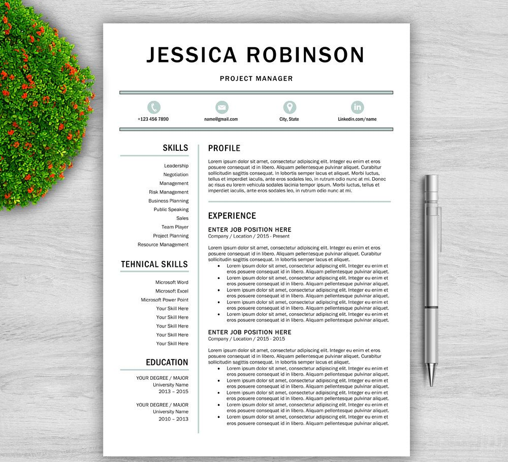 Modern Resume Template For Word Us Letter A Resume Template