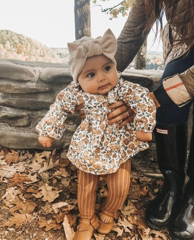 Photo of Cream Knit Hat: (sweater) w/ •Flat Bow• baby turban hat with…