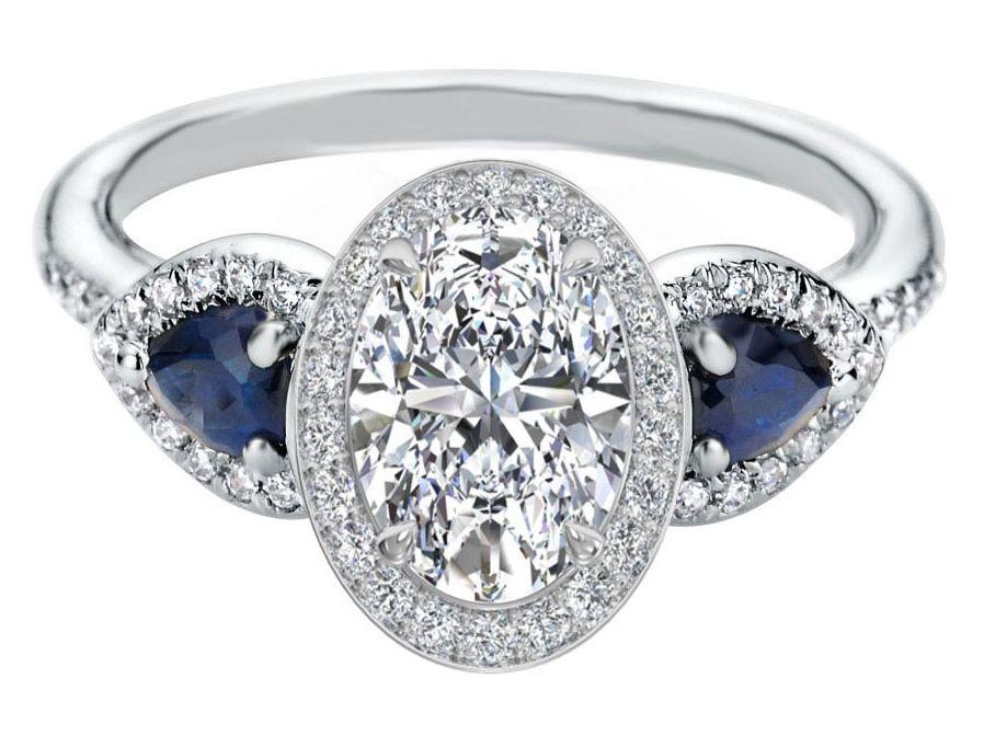 Oval Diamond Halo Engagement Ring Pear Shape Blue Sapphire Side Stones