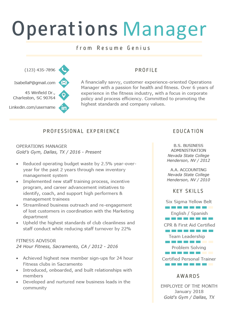 Operations Manager Resume Example Writing Tips Rg Manager Resume Resume Examples Job Resume Examples