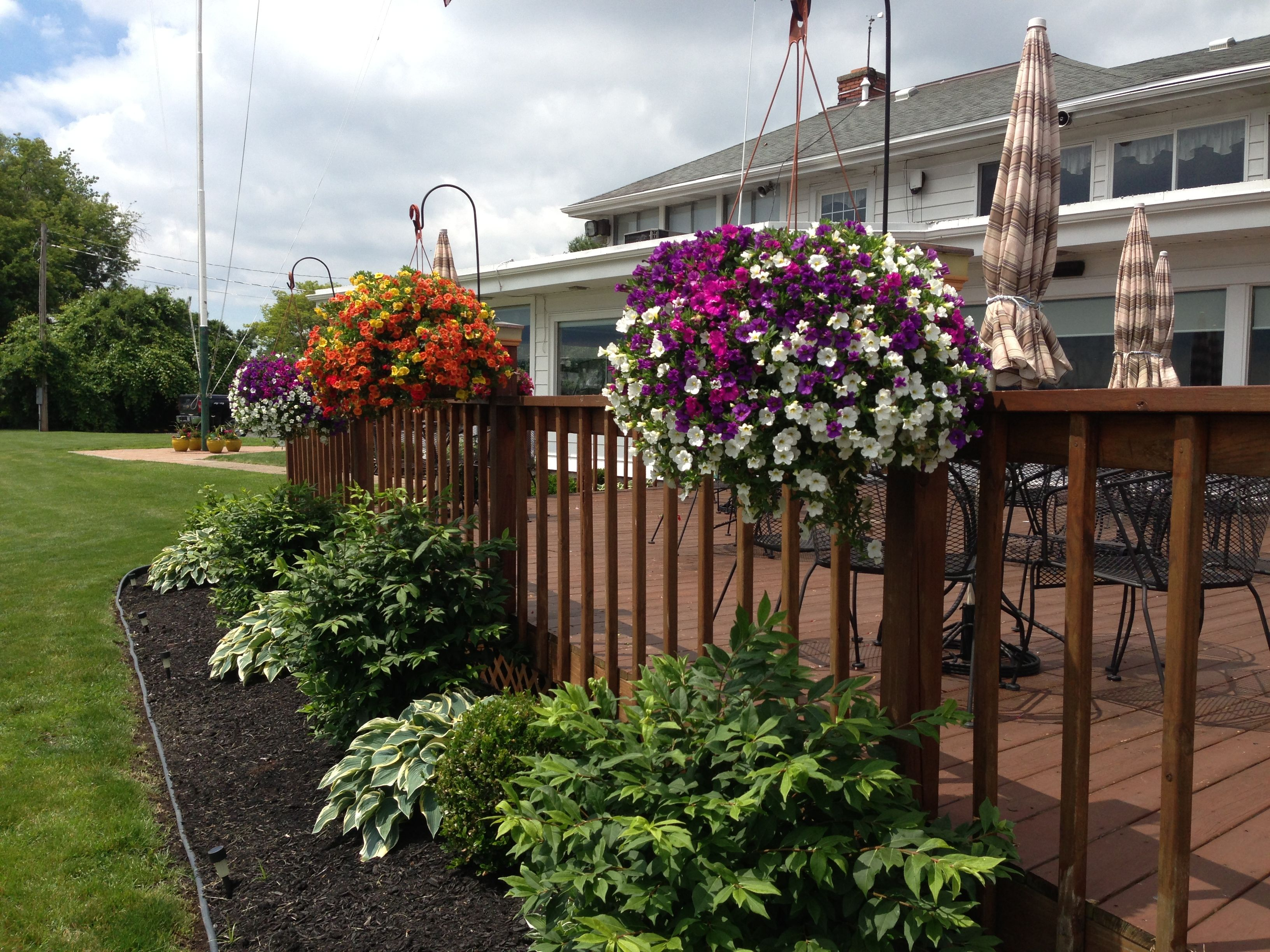 Shepherd Hooks And Hanging Baskets On Deck