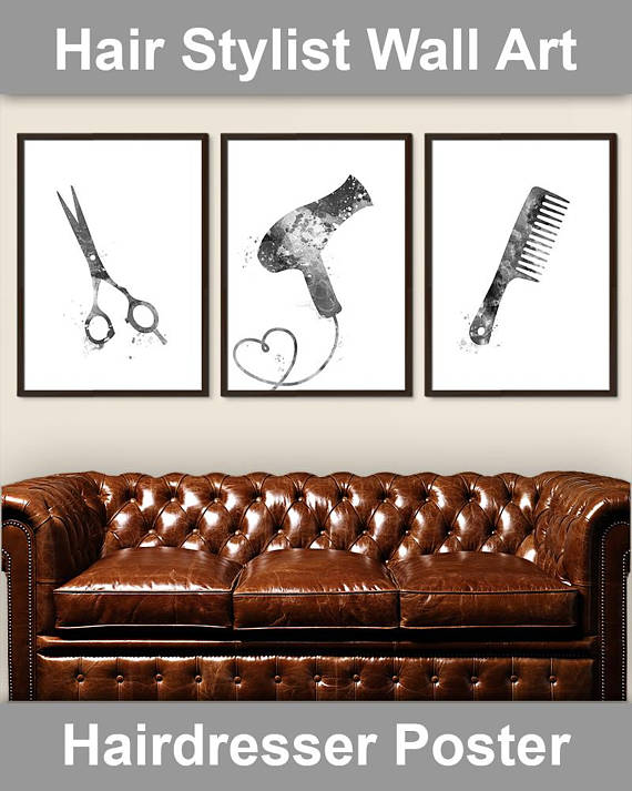 BEAUTY SALON HAIR DRESSER PHOTO BARBER SHOP POSTER SQUARE ART PRINT