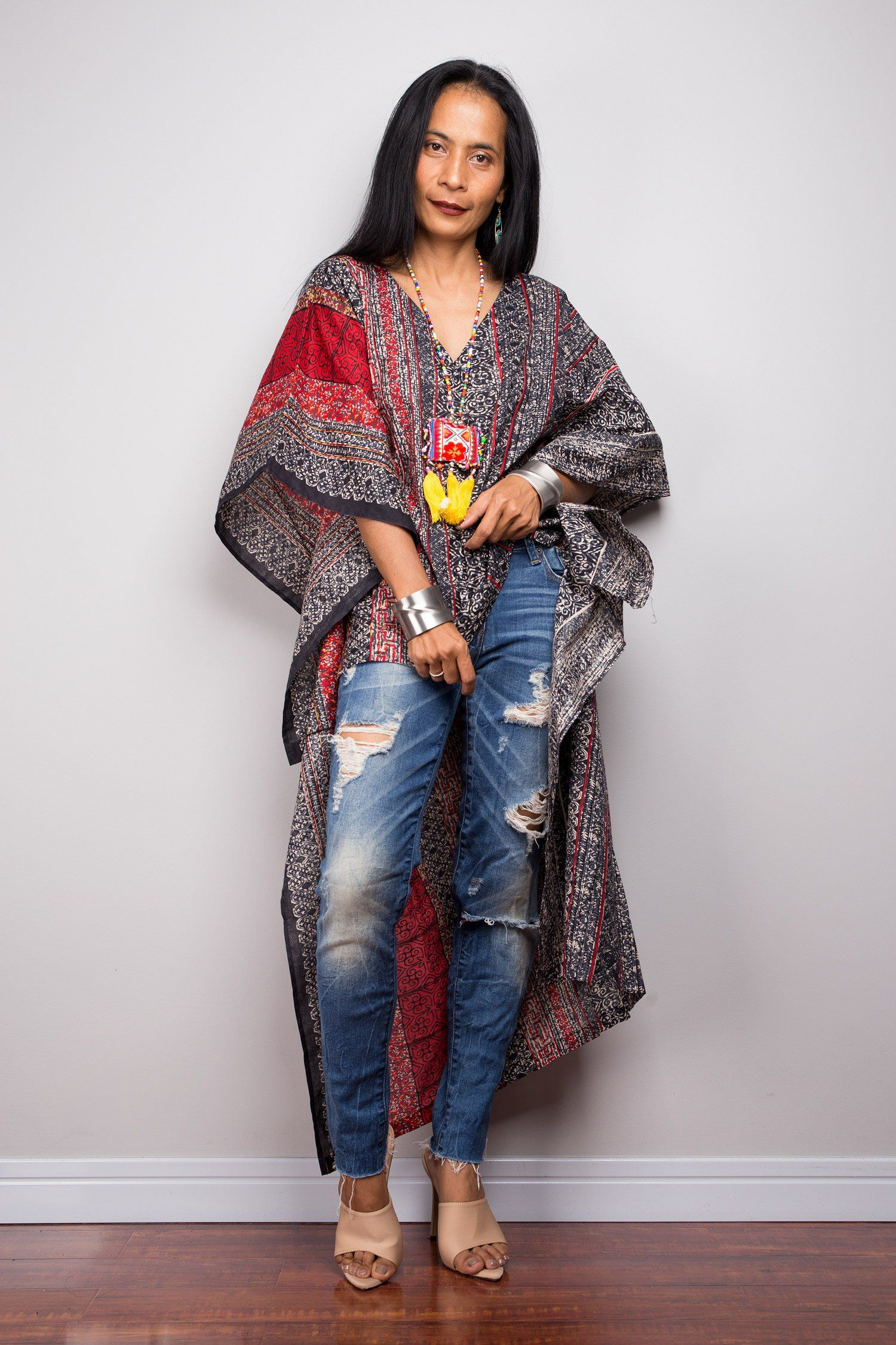 af1cdea992 Boho Kaftan top   Cotton Tunic top   beachwear tunic   Short front poncho top  dress