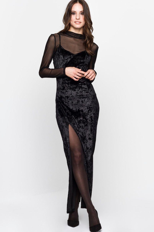 Molto Vestito lungo velluto nero quo - Fashion touch italy KH68