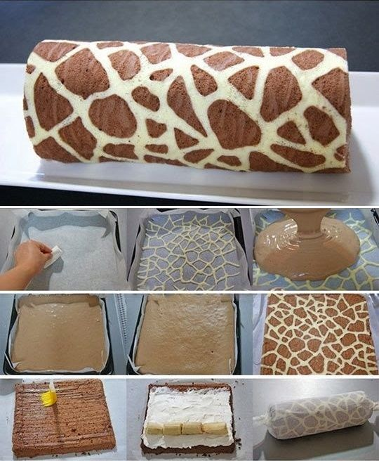 DIY Make Giraffe Patterned Swiss Roll Cake