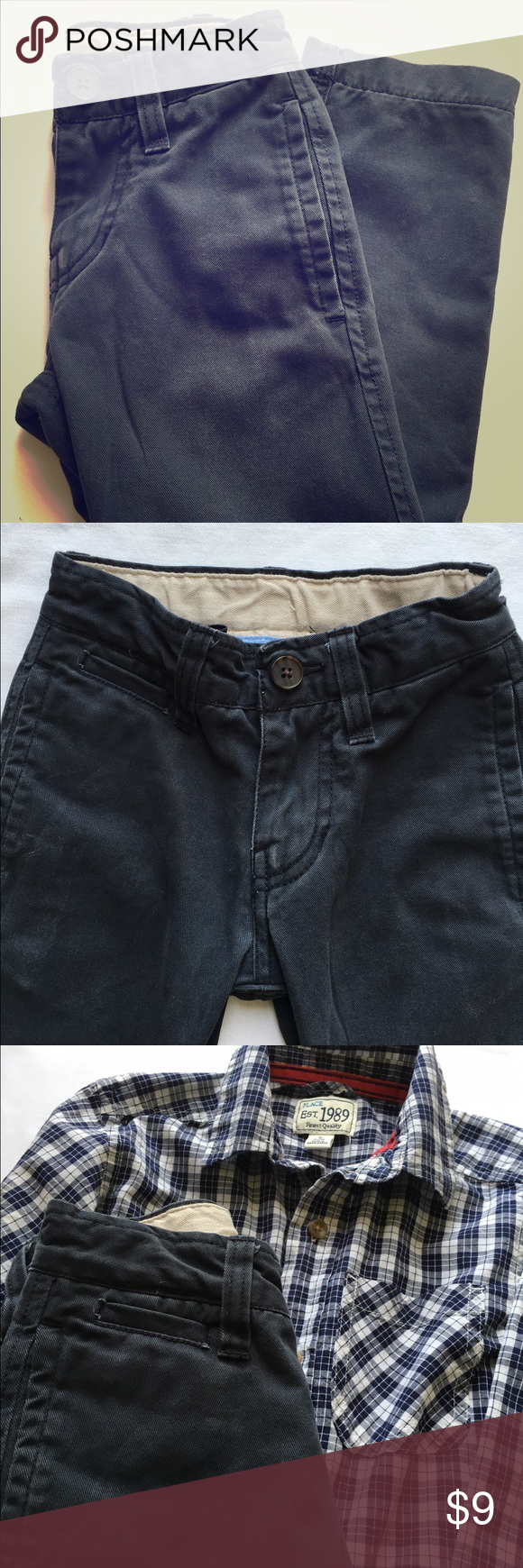 Gap Shield Reinforced Straight Leg Pant Size 5 Slim fit straight leg uniform cotton pants in Navy with a reinforced adjustable waist. Boys size 5. Gap Bottoms Casual