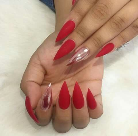 Matte Red And Chrome Accents Gold Acrylic Nails Pointed Nails