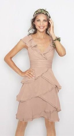 """WATTERS Buff imported crinkle chiffon, """"romantic ruffle"""" dress with front v-neck, http://plumprettysugar.tumblr.com/"""