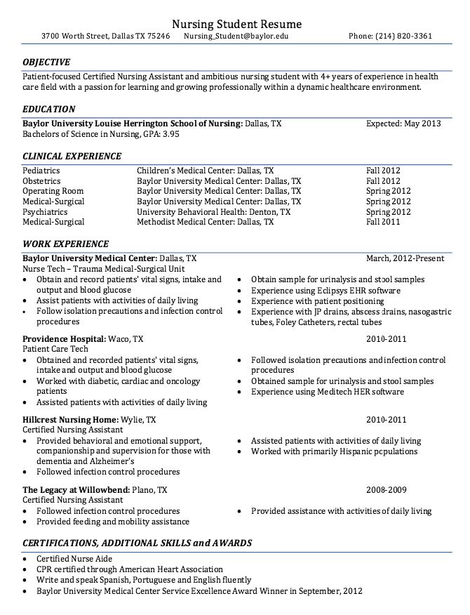 Graduate Nursing Student Resume Examples Resume Cv Resume Examples Job Resume Samples Student Resume
