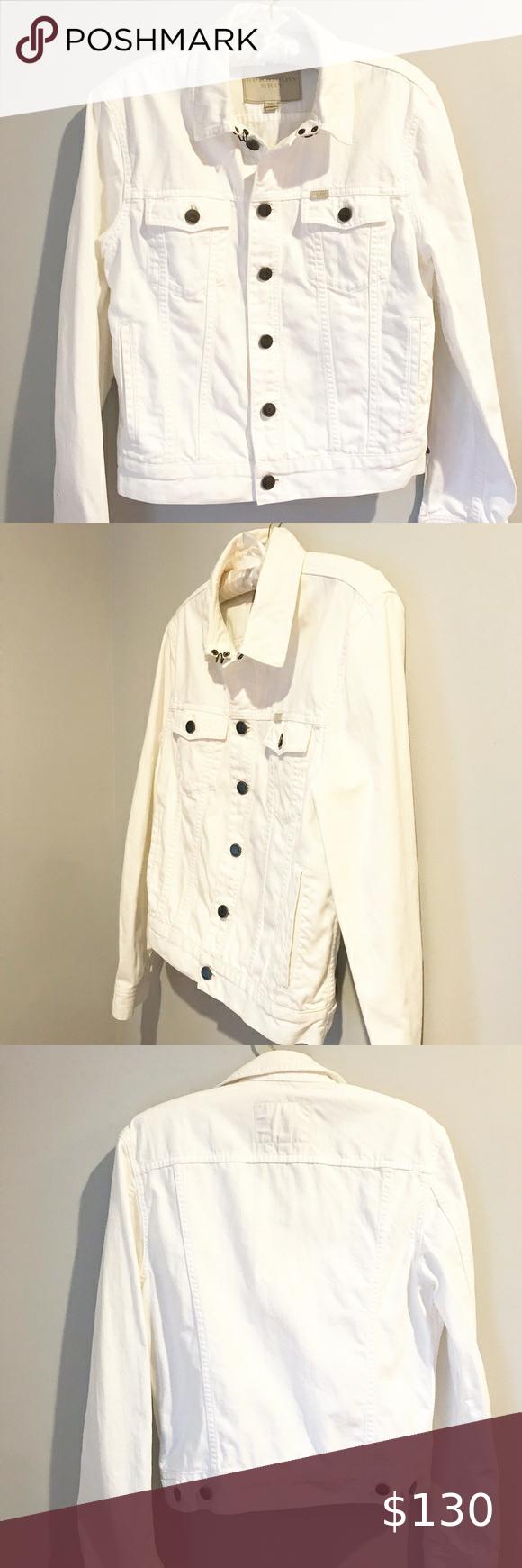 Burberry Brit White Denim Jacket Size M в 2020 г