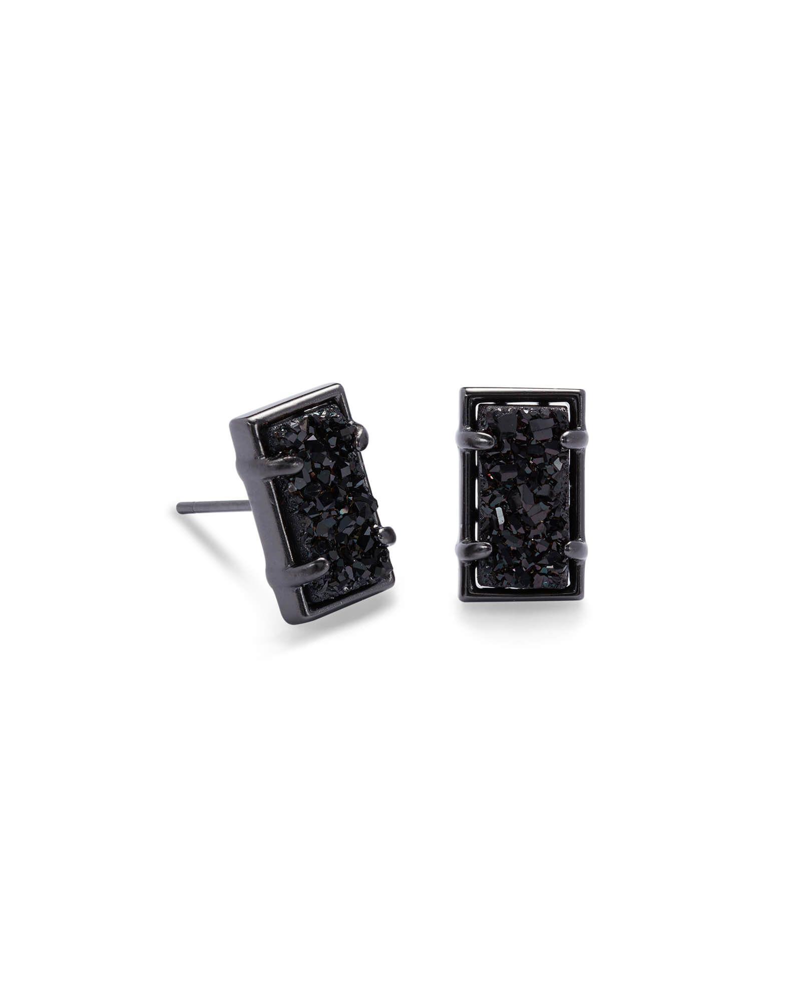 Paola Gunmetal Stud Earrings In Black Drusy