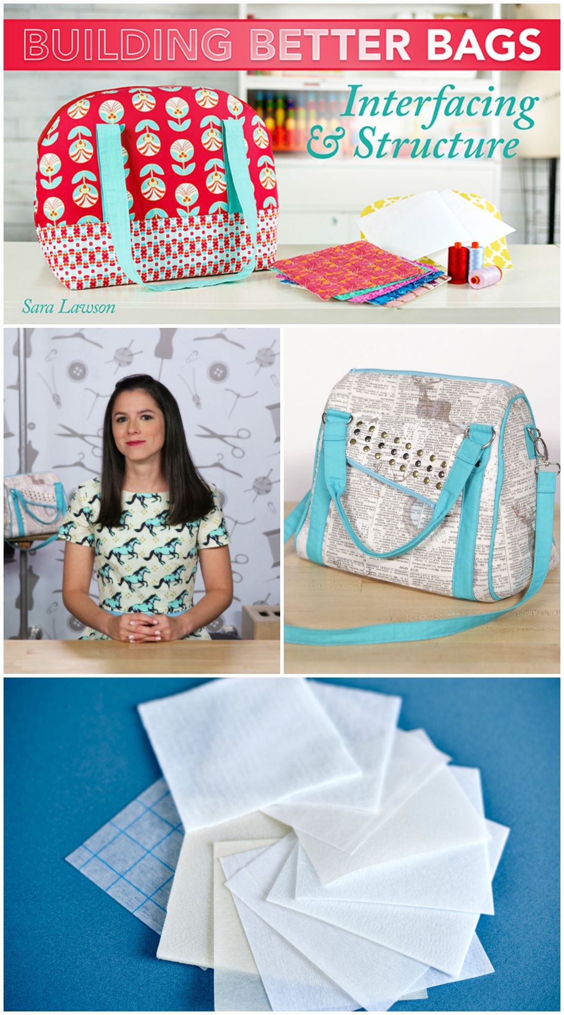 Everything you ever wanted to know about the right interfacing to use for your bag sewing projects, and how to use it.  Fabulous informative Craftsy class.