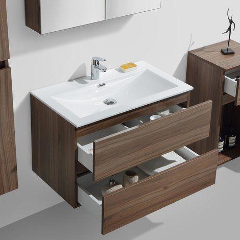 Meuble salle de bain design simple vasque SIENA largeur 80 cm, noyer - Meuble De Salle De Bain Sans Vasque