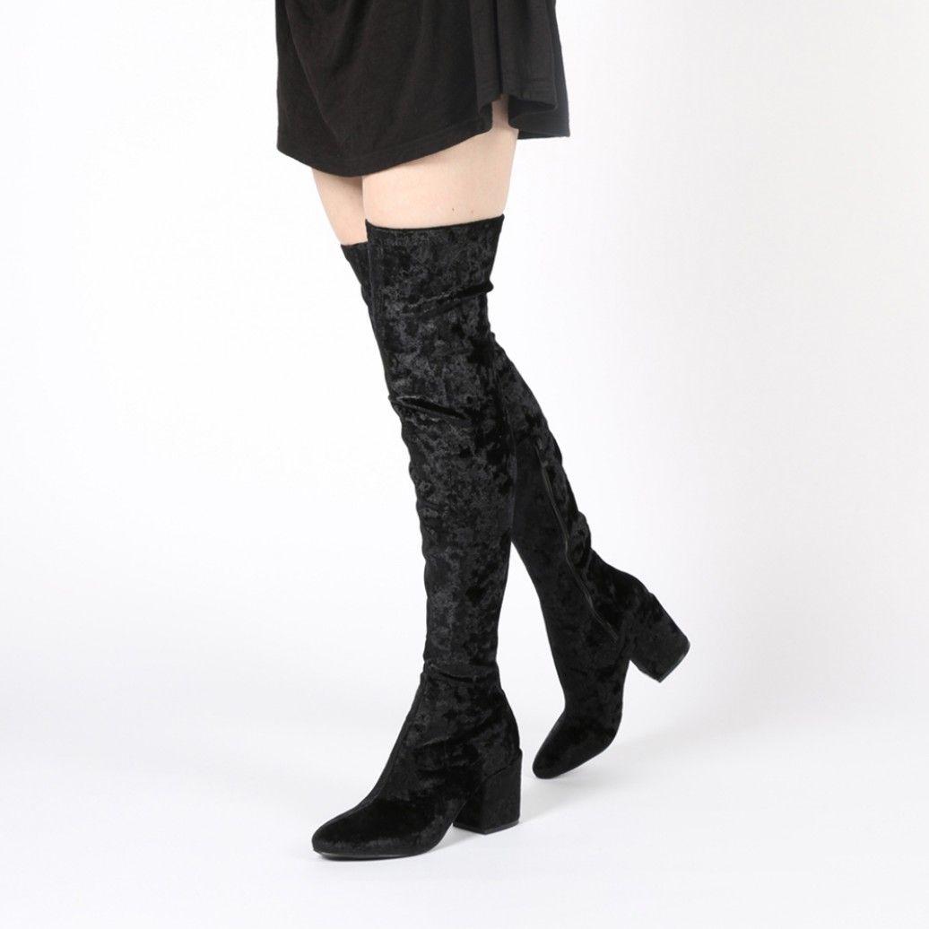 Anita Long Boots in Black Crushed Velvet