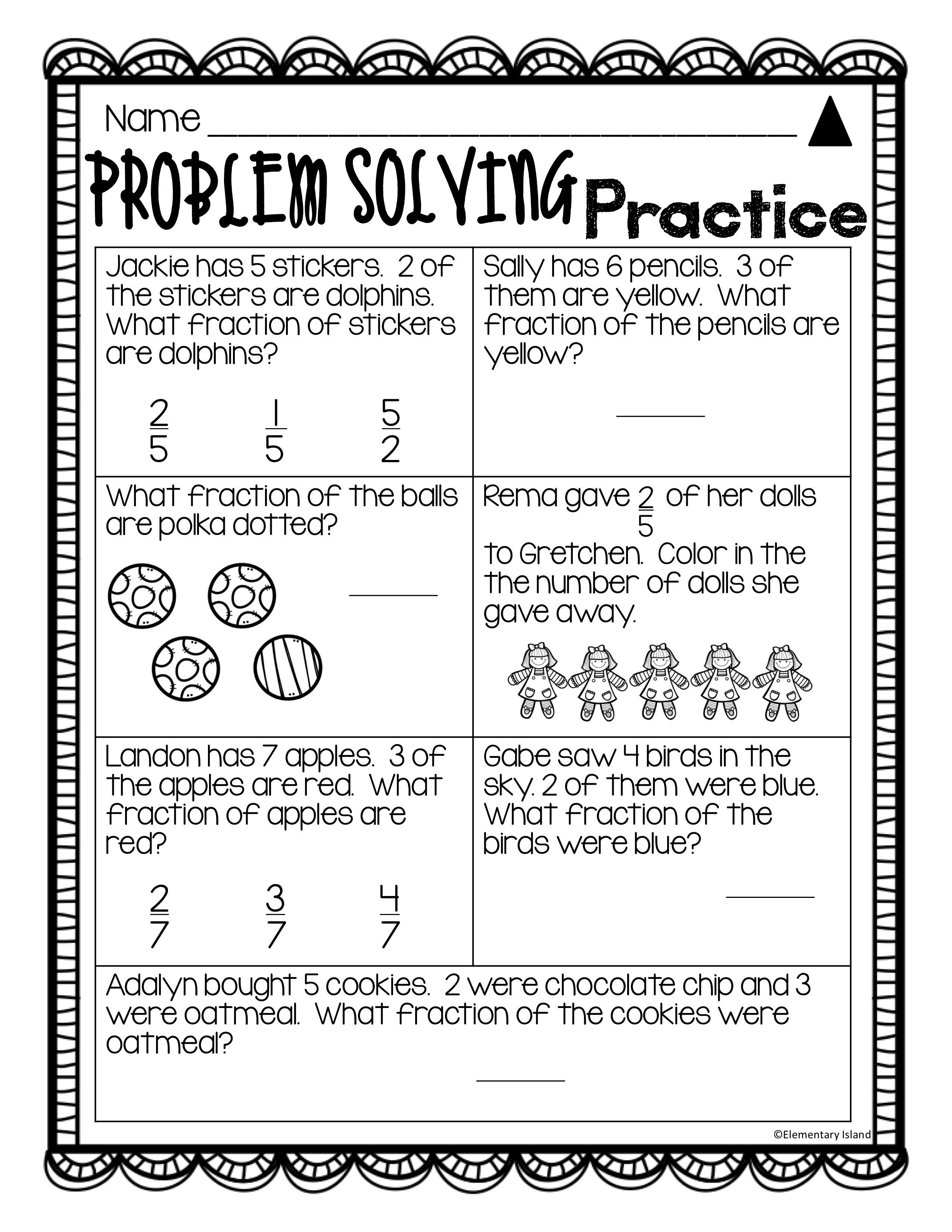 These Fraction Differentiated Leveled Printables Make Teaching Fraction Skills To First Seco Problem Solving Worksheet Fractions Worksheets Teaching Fractions