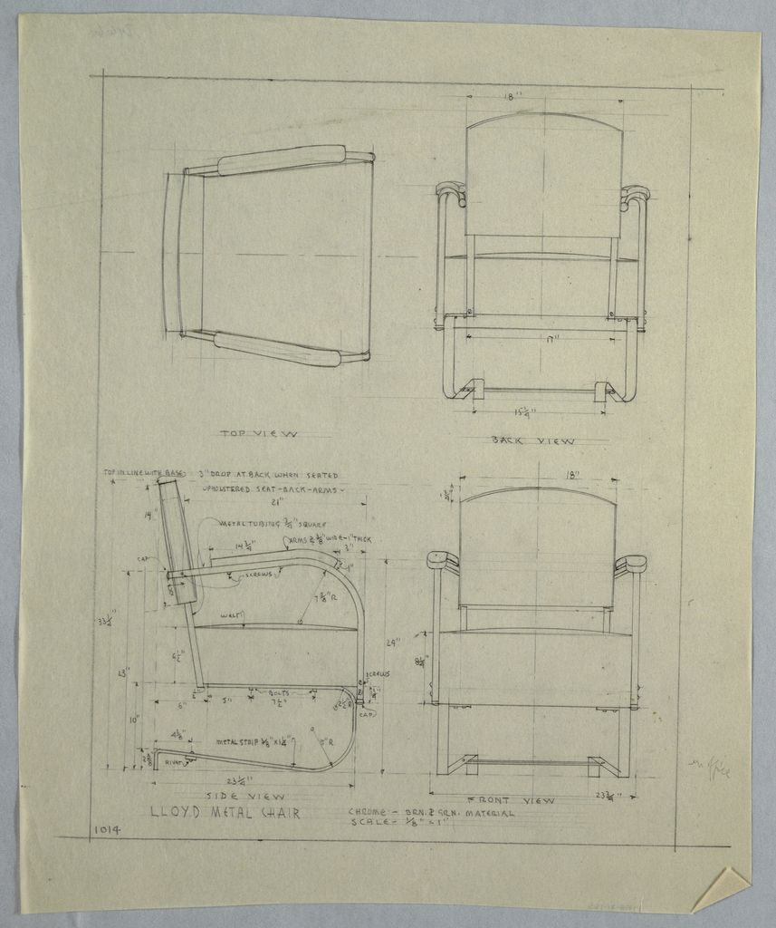 Drawing Lloyd Metal Chair 1940s Metal Chairs Vintage Industrial Design Industrial Design