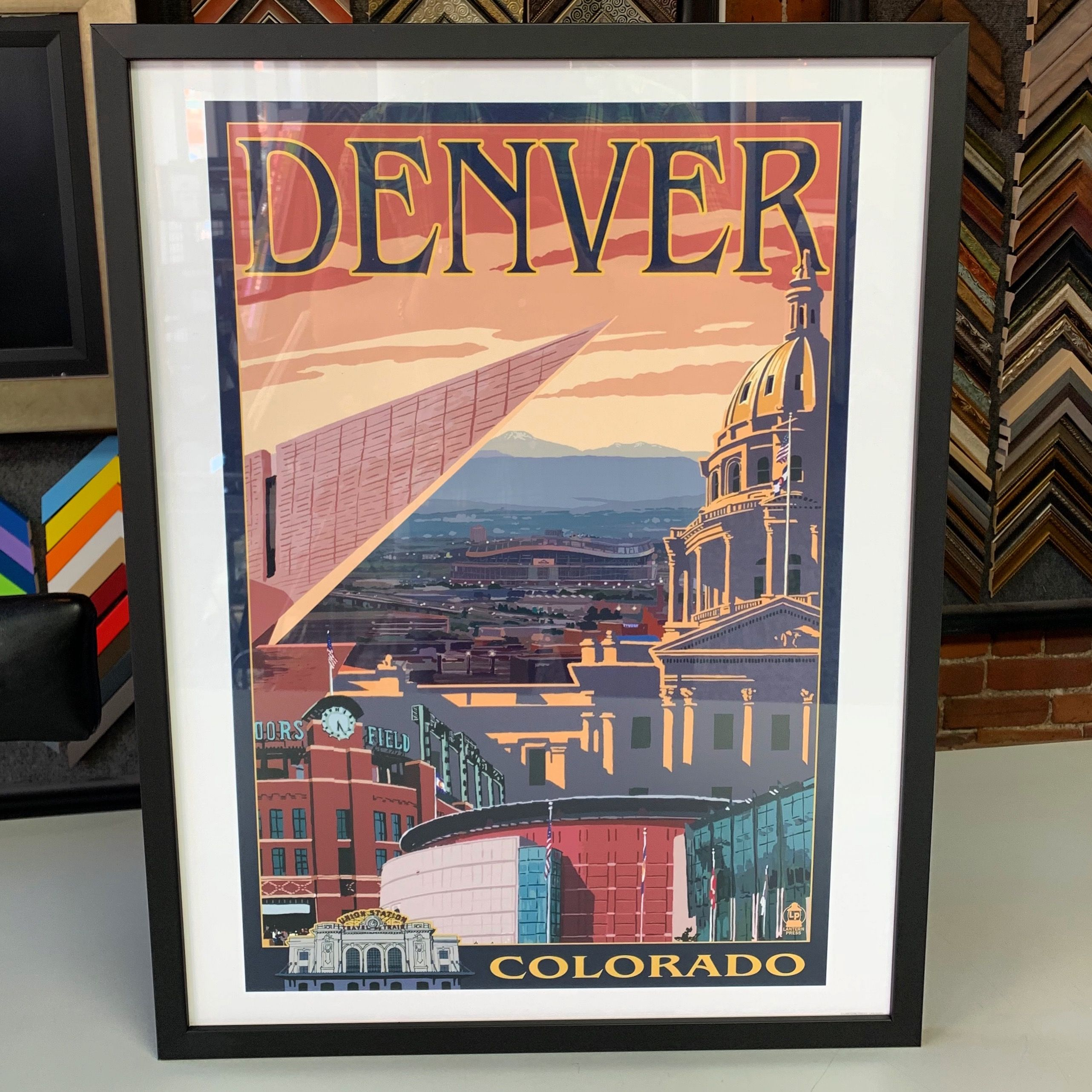 Denver print custom frame with UV glass and black wood
