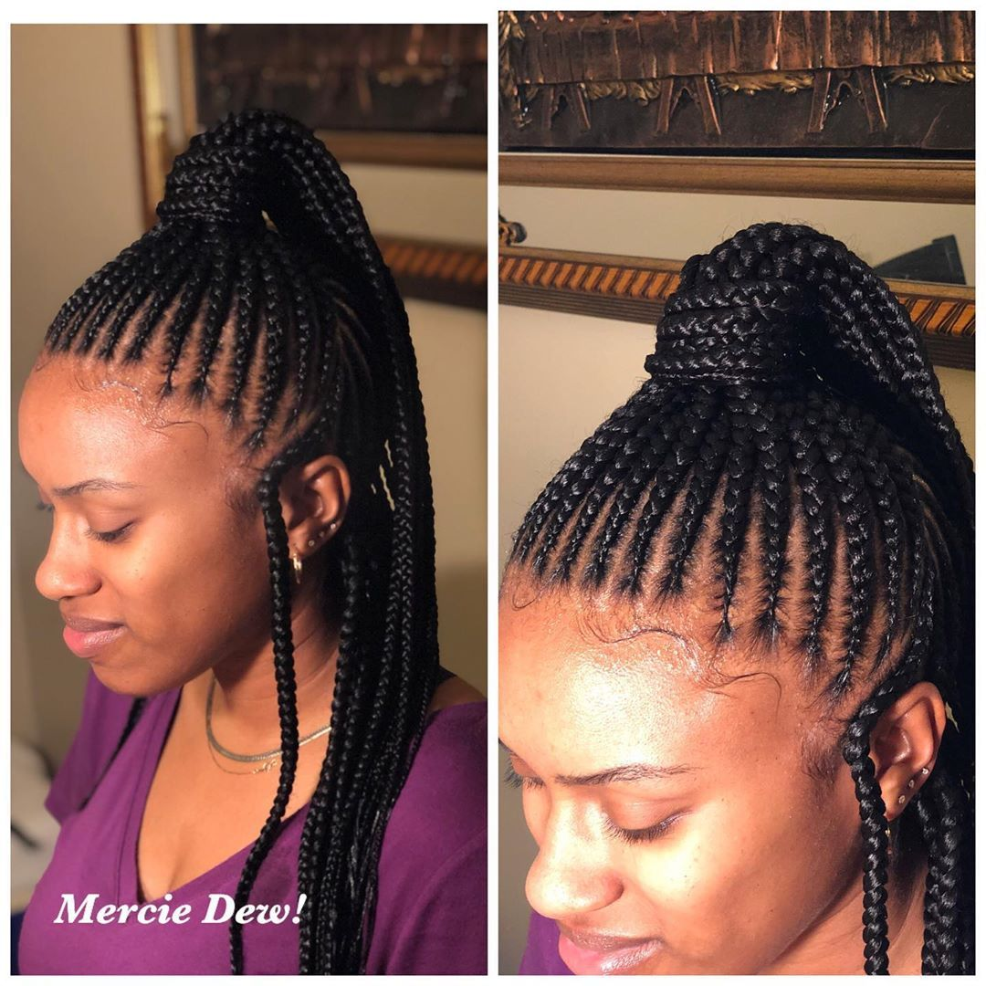Beautiful half up half down Tribal Braids! #MercieDew #NeatBraids #TribalBraids #NWIBraids #NWIBraider #LinkInBio