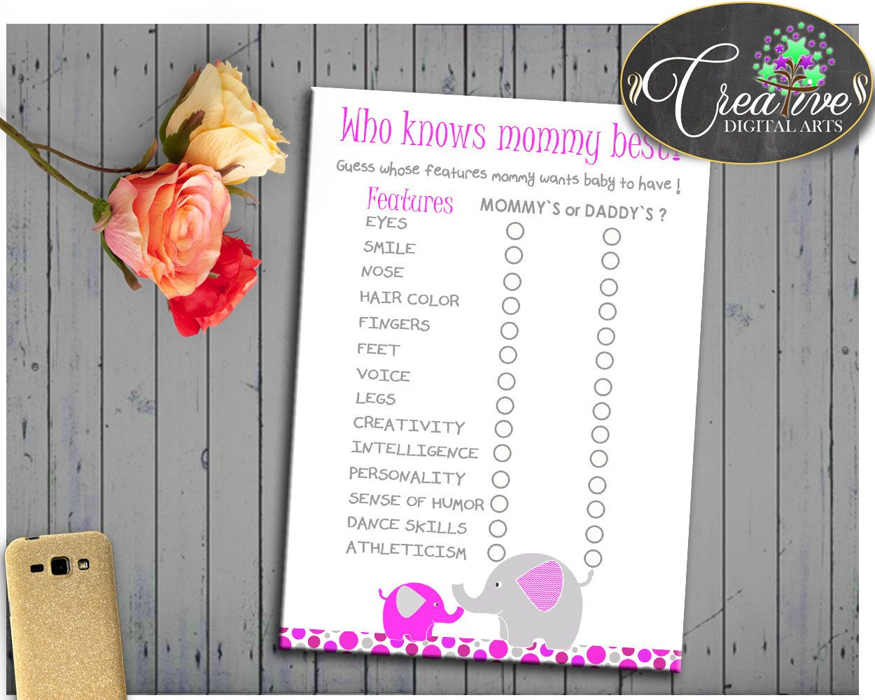 Elephant Trunk Shower Pink Elephant Baby Smile How Well Do You Know WHO KNOWS MOMMY Best, Party Decorations, Party Theme - ep001 #babyshowerparty #babyshowerinvites