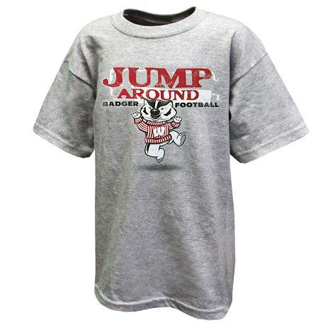 Youth Jump Around T Shirt Mens Tops Badger Football Mens Tshirts