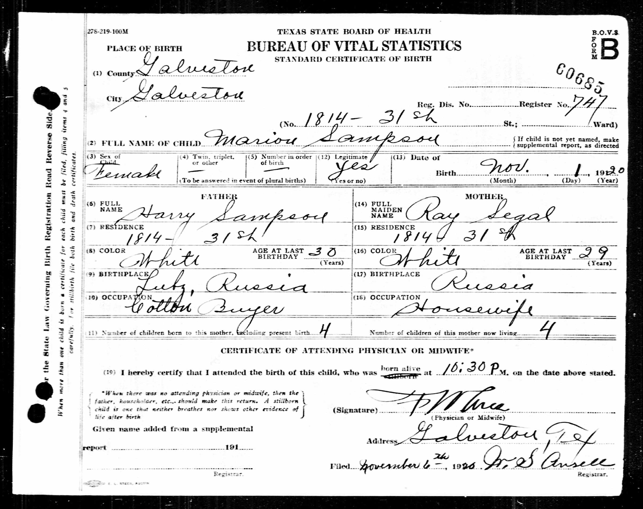 Marion sampson birth date 1 nov 1920 gender female birth place birth certificate 1betcityfo Image collections