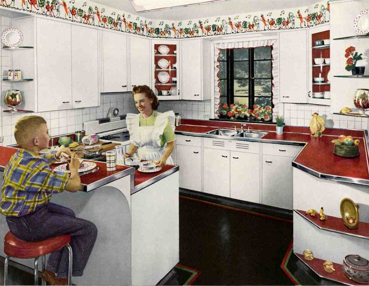 red linoleum counters... but those dancing veggies around the ceiling rule ) & 1940u0027s kitchens | Pinterest | Ceilings Kitchens and 1950s kitchen