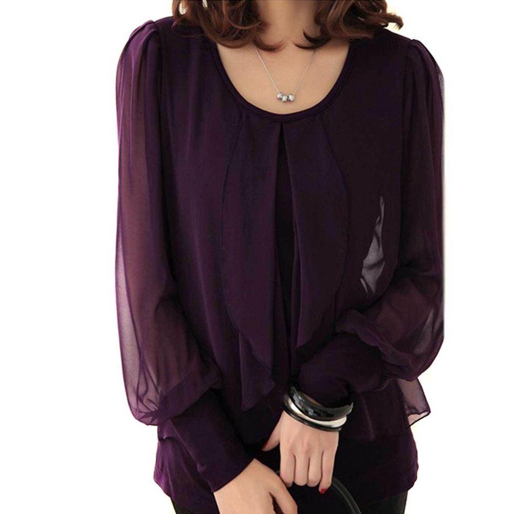 New Women's Chiffon Pleat Front Blouson sleeves Top Shirt Blouse Tank Plus Size