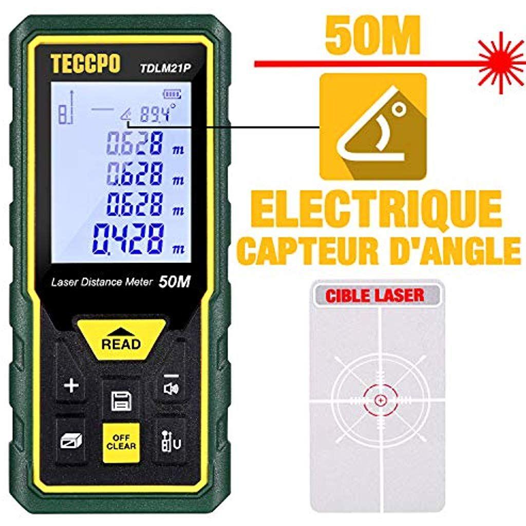 Telemetre Laser 50m Mesure Laser Teccpo Capteur Electronique Angulaire M In Ft Ftin Fonction Muet 30 Stockage De Donn Capteur Electronique Instrument De Mesure
