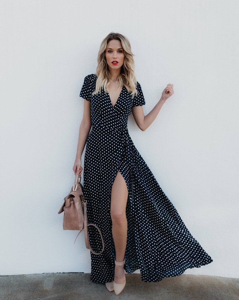 Cara polka dot wrap maxi dress dresses for all shapes pinterest