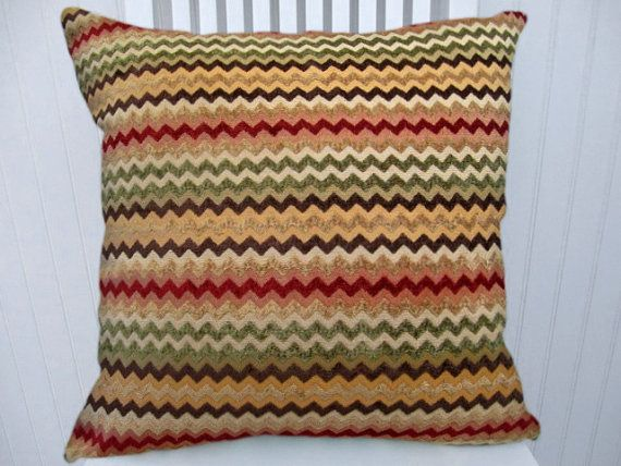 22X22 Pillow Insert Red Green Chenille Pillow Cover 18X18 Or 20X20 Or 22X22 Zig Zag