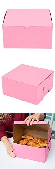 Custom Donut Boxes Pink Donut Box 10x10x5 Inch 10 Pack Eco Friendly Paperboard Bakery Take Out Gift Boxes For Pastries C Donut Box Cookie Box Pink Donuts