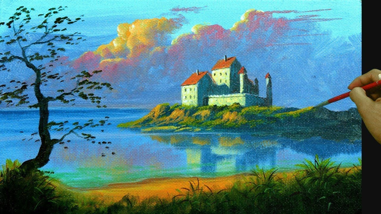 How To Paint Sunset With Old Castle Near The Beach In Sunset Painting Castle Painting Landscape Painting Lesson