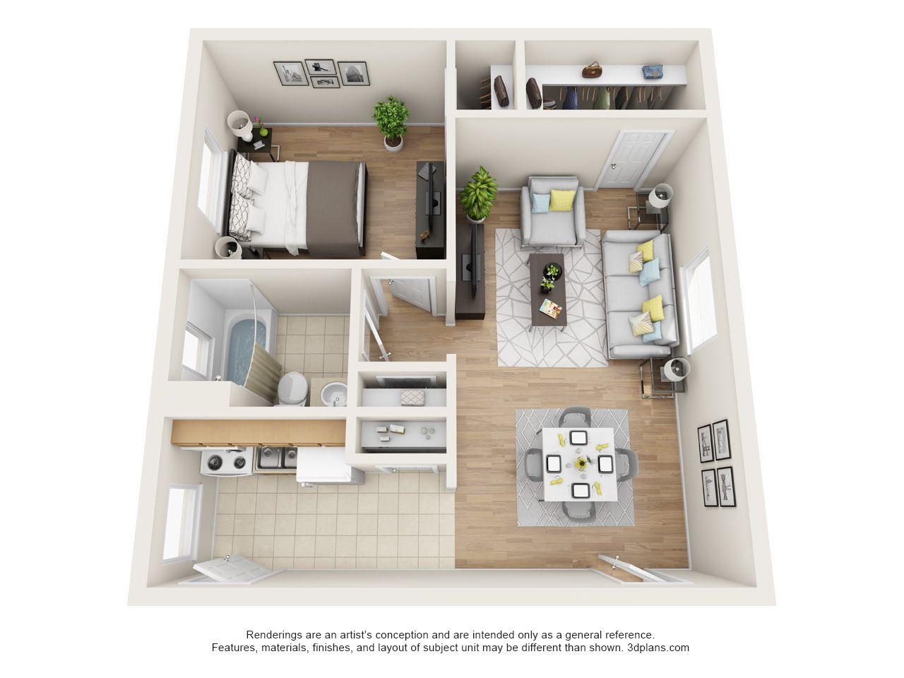 Shelton Apartment One Bedroom With 650sq Ft Large Bedroom With Walk In Closets And Open Floor Plan Small House Plans Apartment Layout House Plans