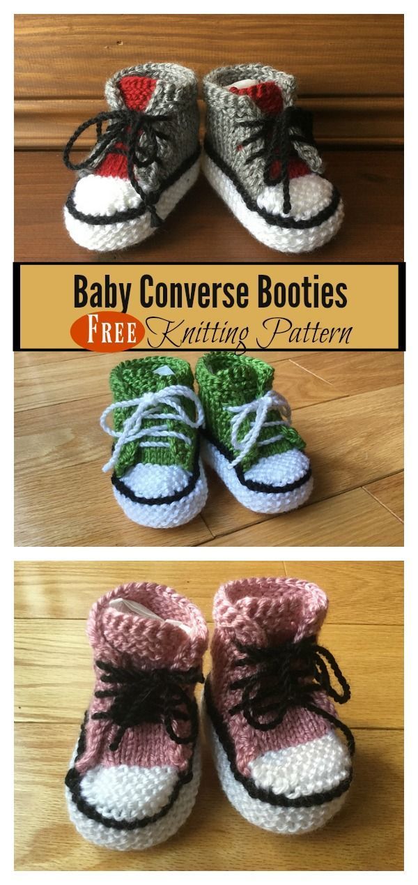 Baby Converse Booties Free Knitting Pattern | Knit patterns, Baby ...